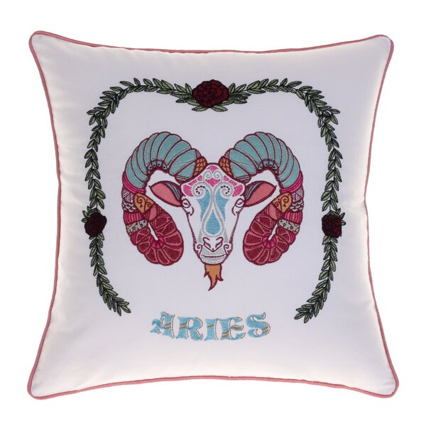 Horoscope Aries 100% Cotton Throw Pillow by 14 Karat Home Inc.
